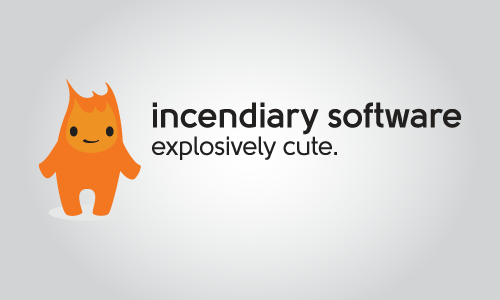 Incendiary Software primary logo with Burnard standing.